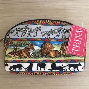 Safari Scene Zebra & Lion Makeup Pouch